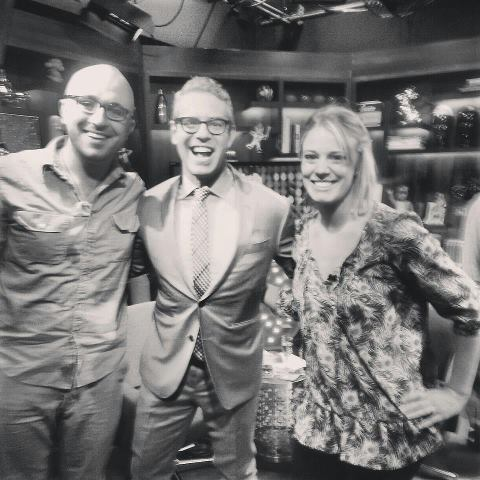 "Bryn Davis and Tina Bucci with ""Watch What Happens Live"" host Andy Cohen at Bravo Studios."